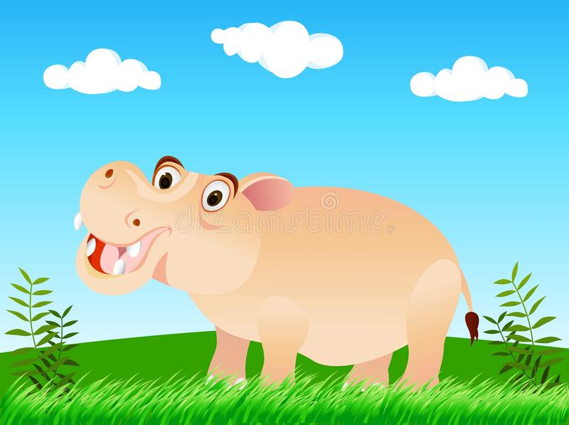 Download Hippo in the wild stock vector. Image of label, background - 24537508