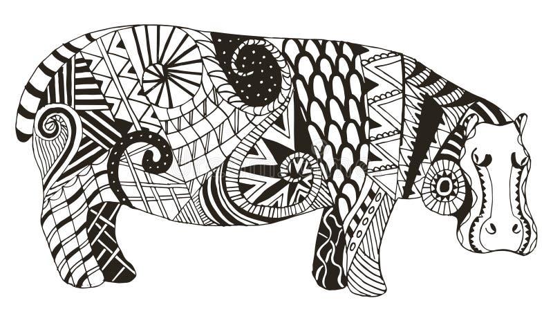 Hippo zentangle stileerde, vector, illustratie, potlood uit de vrije hand vector illustratie