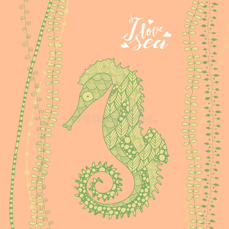Hippocampe bleu de style d'art de zen avec le lettrage manuscrit j'aime la mer illustration libre de droits