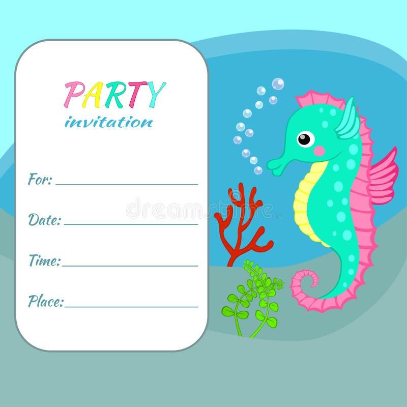 Hippocampe coloré de calibre de carte d'invitation de fête d'anniversaire d'enfants illustration libre de droits