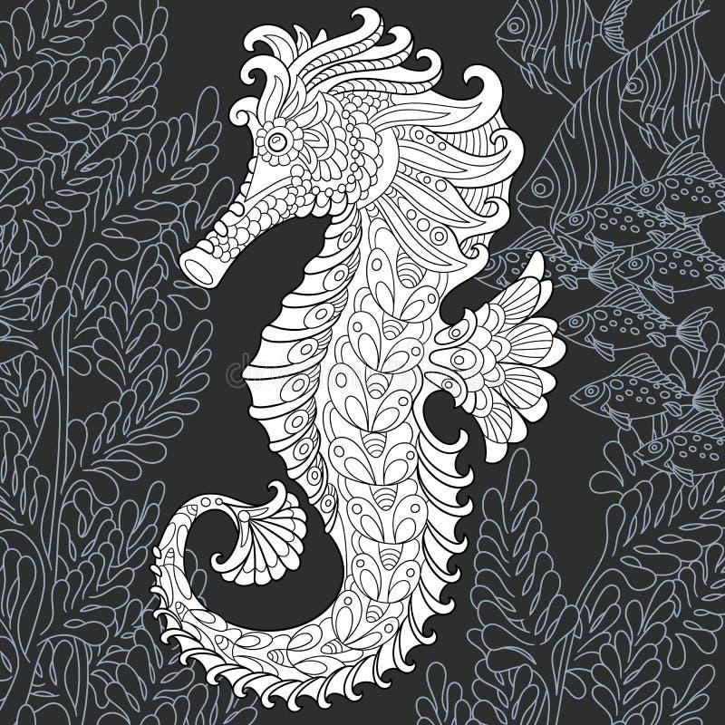 Hippocampe dans le style noir et blanc illustration stock