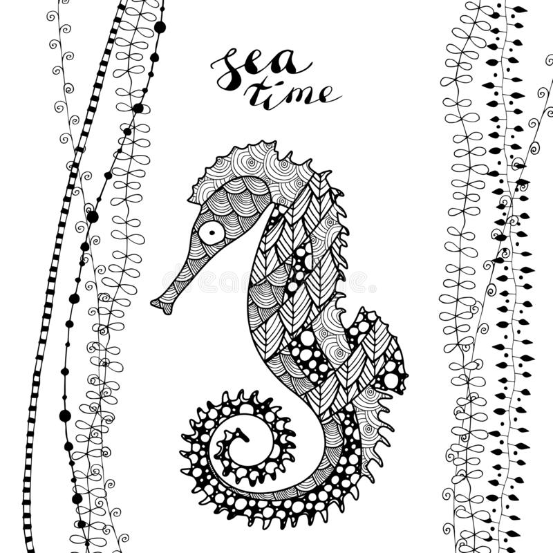 Hippocampe de style d'art de zen dessus avec du temps de inscription manuscrit de mer illustration de vecteur