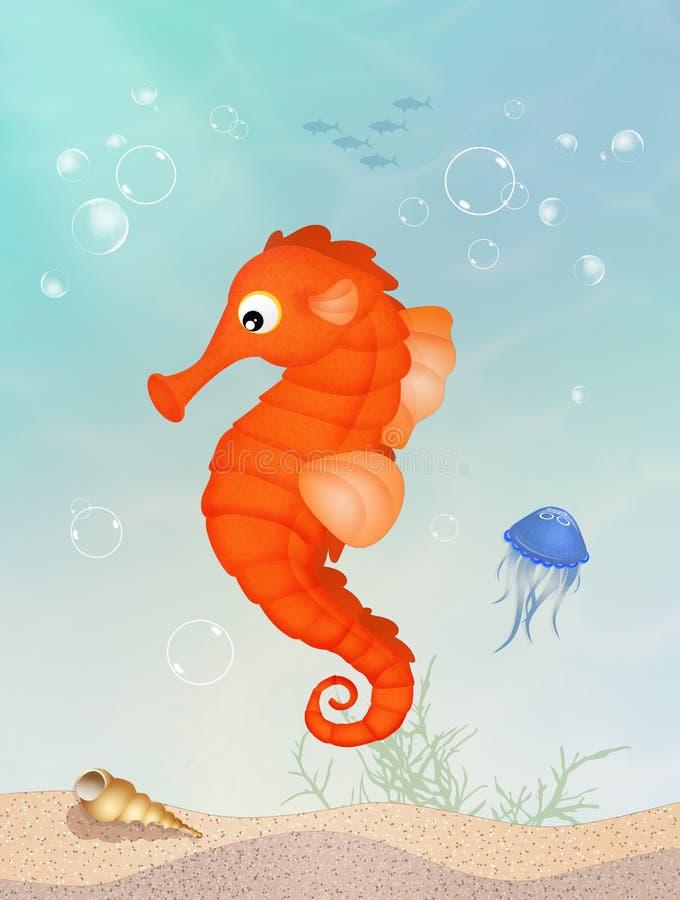 Hippocampe sur le récif illustration de vecteur
