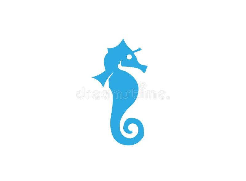 Hippocampe un petit poisson de mer avec le logo osseux segmenté d'armure illustration libre de droits
