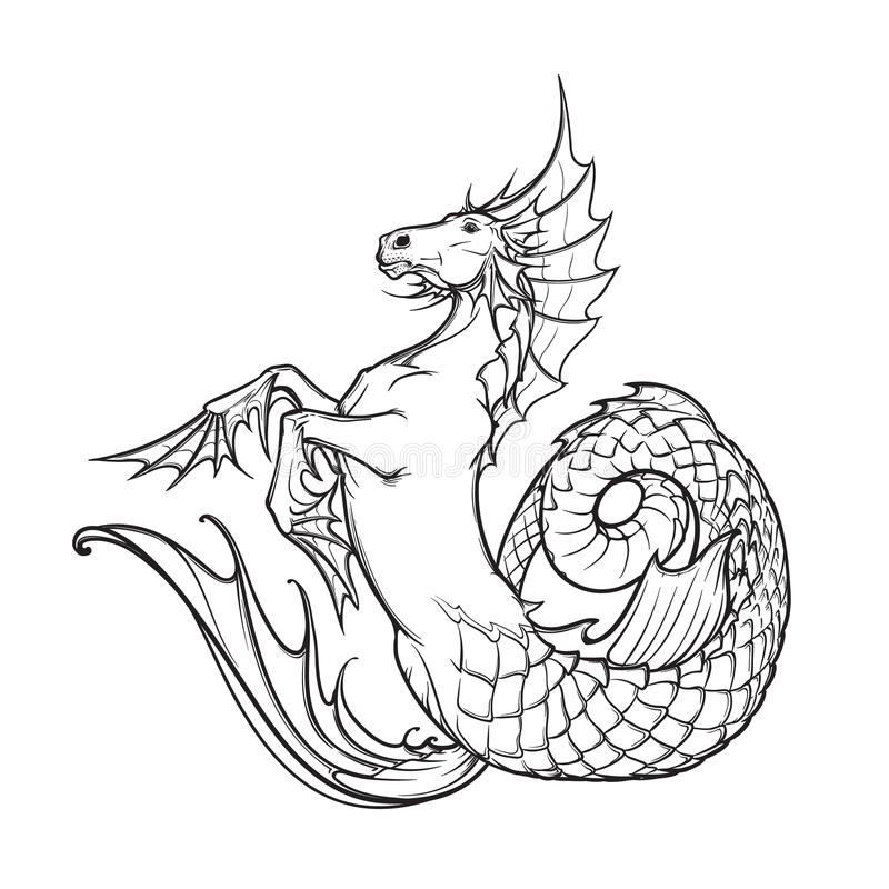 Hippocampus or kelpie supernatural water beast. Black and white sketch. stock image