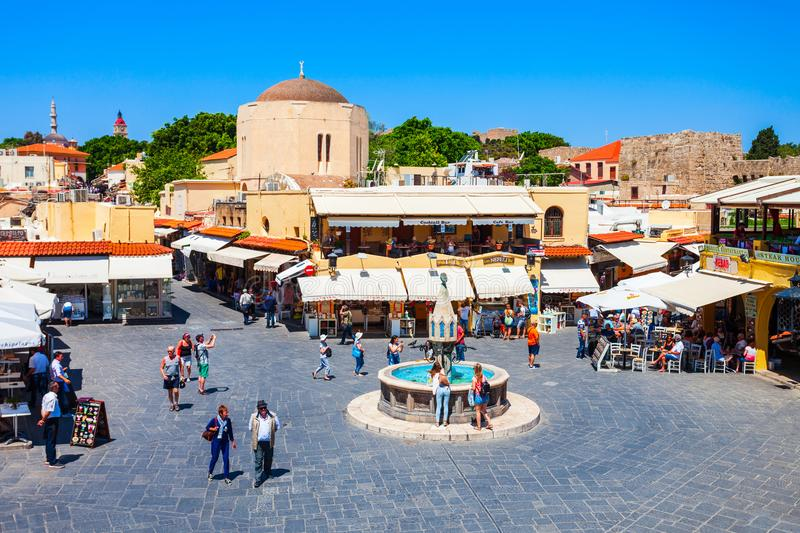 Hippocrates fountain, Rhodes old town. RHODES, GREECE - MAY 13, 2018: Hippocrates fountain at the Rhodes old town main square in Rhodes island in Greece stock photo