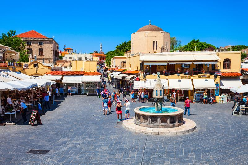 Hippocrates fountain, Rhodes old town. RHODES, GREECE - MAY 13, 2018: Hippocrates fountain at the Rhodes old town main square in Rhodes island in Greece stock image