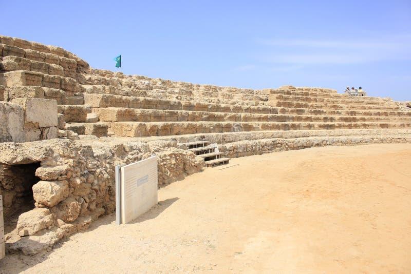 Hippodrom in altem Caesarea Maritima lizenzfreie stockfotografie