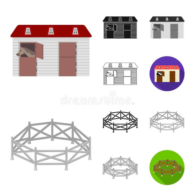 Hippodrom- und Pferdekarikatur, Schwarzes, flach, einfarbig, Entwurfsikonen in der Satzsammlung für Design Pferderennen und stock abbildung
