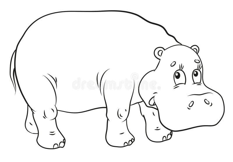Hippopotame, coloration, l'image de l'animal en noir et blanc illustration stock
