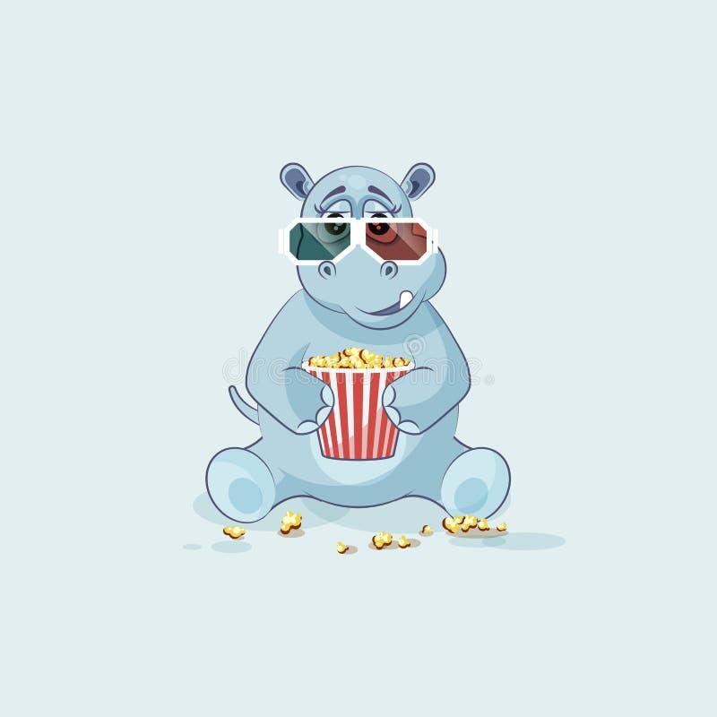 Hippopotame de bande dessinée de caractère d'Emoji mâchant le maïs éclaté, film de observation illustration de vecteur
