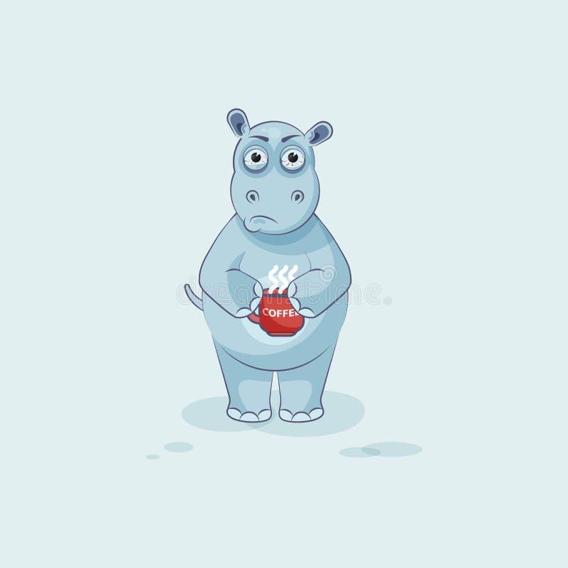 Hippopotame de bande dessinée de caractère d'Emoji nerveux avec la tasse de café illustration stock