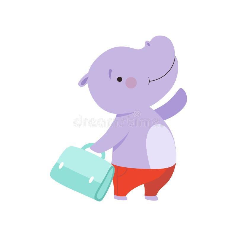 Hippopotame de touristes gai avec le sac, personnage de dessin animé animal mignon voyageant sur l'illustration de vecteur de vac illustration stock