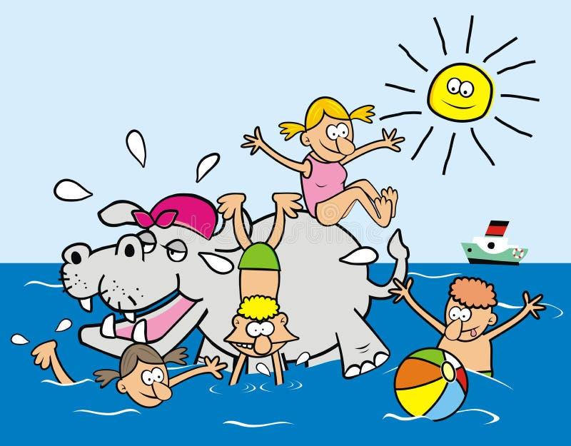 Hippopotame et enfants illustration de vecteur