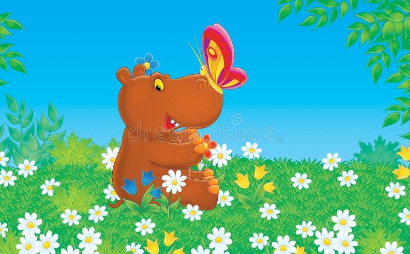 Hippopotame et guindineau illustration stock