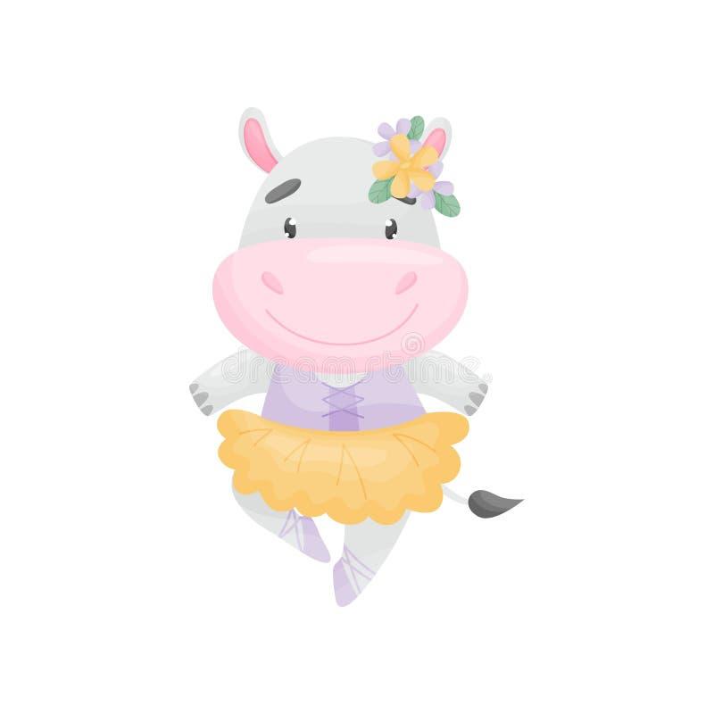 Hippopotame humanisé dans une ballerine de robe Illustration de vecteur sur le fond blanc illustration de vecteur
