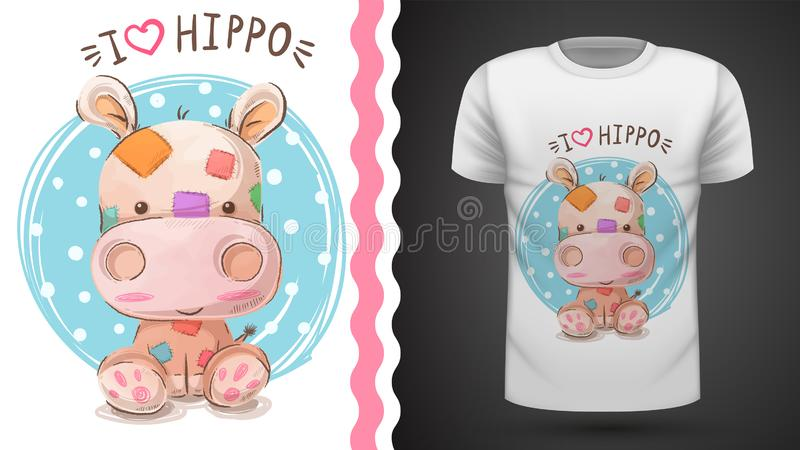 Hippopotame, hippopotame - idée pour le T-shirt d'impression illustration stock