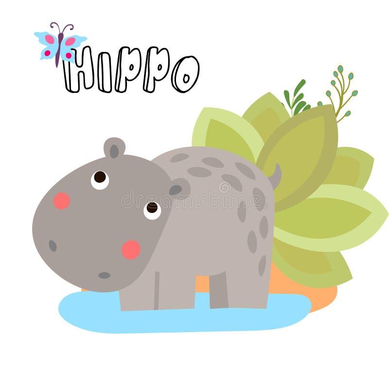Hippopotame mignon de bande dessinée de vecteur Illustrations pour des enfants Carte de fête de naissance avec des éléments d'hip illustration stock