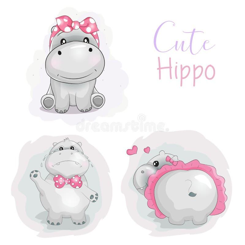 Hippopotame mignon réglé de bande dessinée avec le ruban et tutu à l'arrière-plan blanc illustration de vecteur