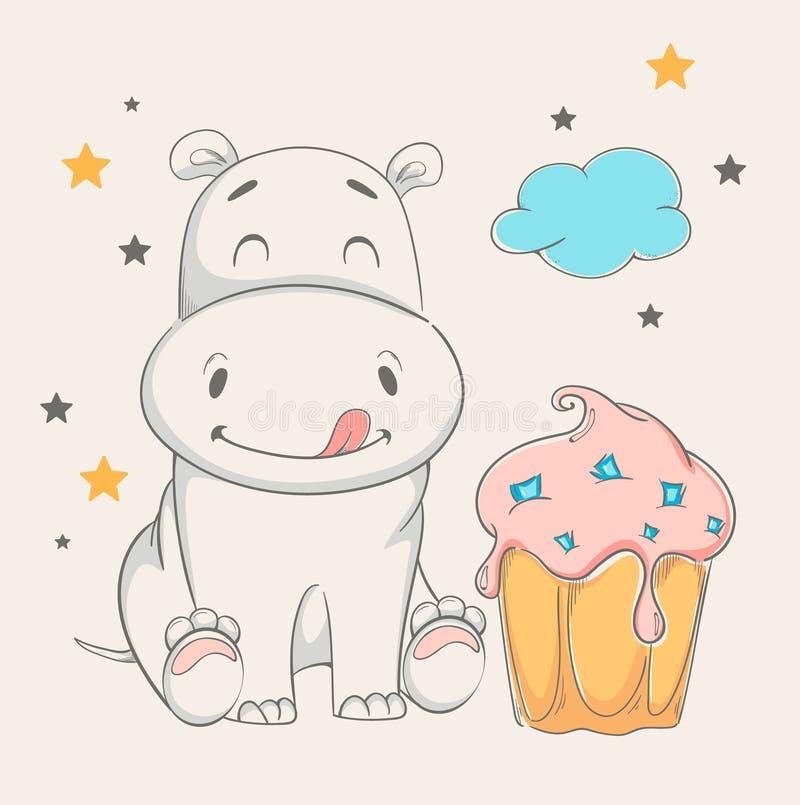 Hippopotame mignon se reposant près du grand gâteau illustration stock
