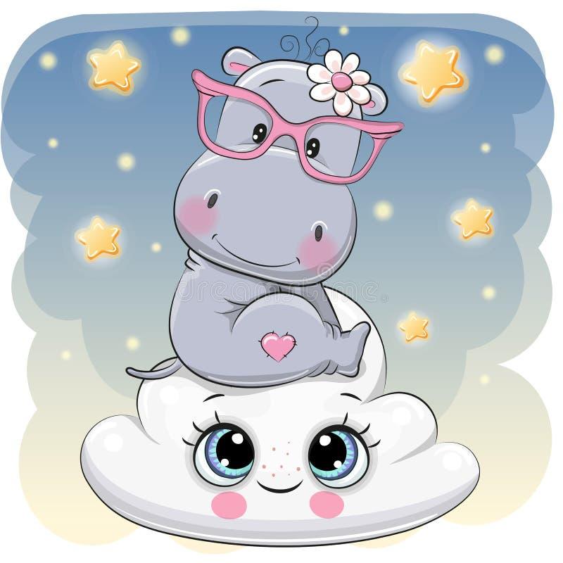 Hippopotame mignon a sur le nuage illustration libre de droits