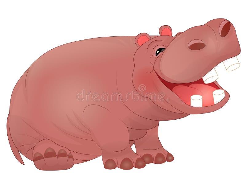 Hippopotame riant mignon de bande dessinée illustration libre de droits