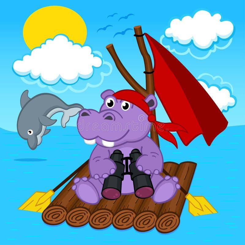 Hippopotame sur le radeau illustration de vecteur