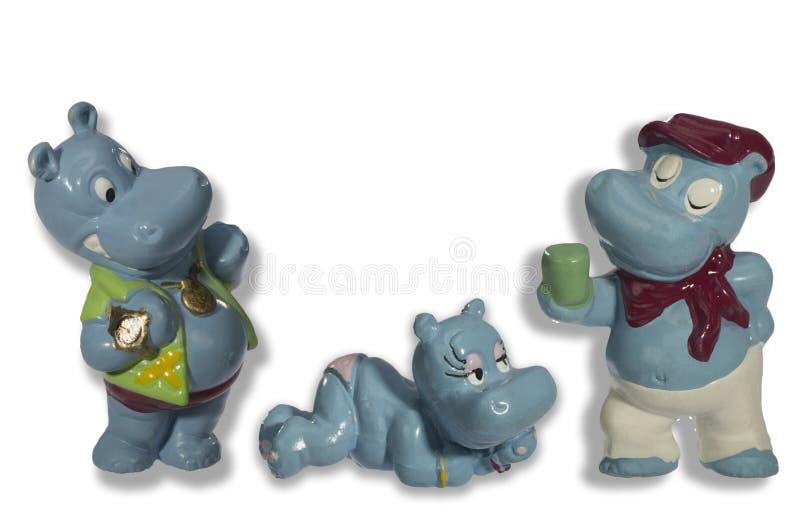 Hippopotames drôles de jouet images stock