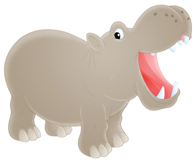 Hippopotamus. Isolated clip art of a grey hippopotamus royalty free illustration