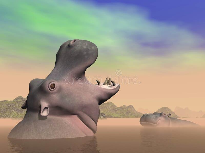 Hippopotamus Anger - 3D Render Royalty Free Stock Photo