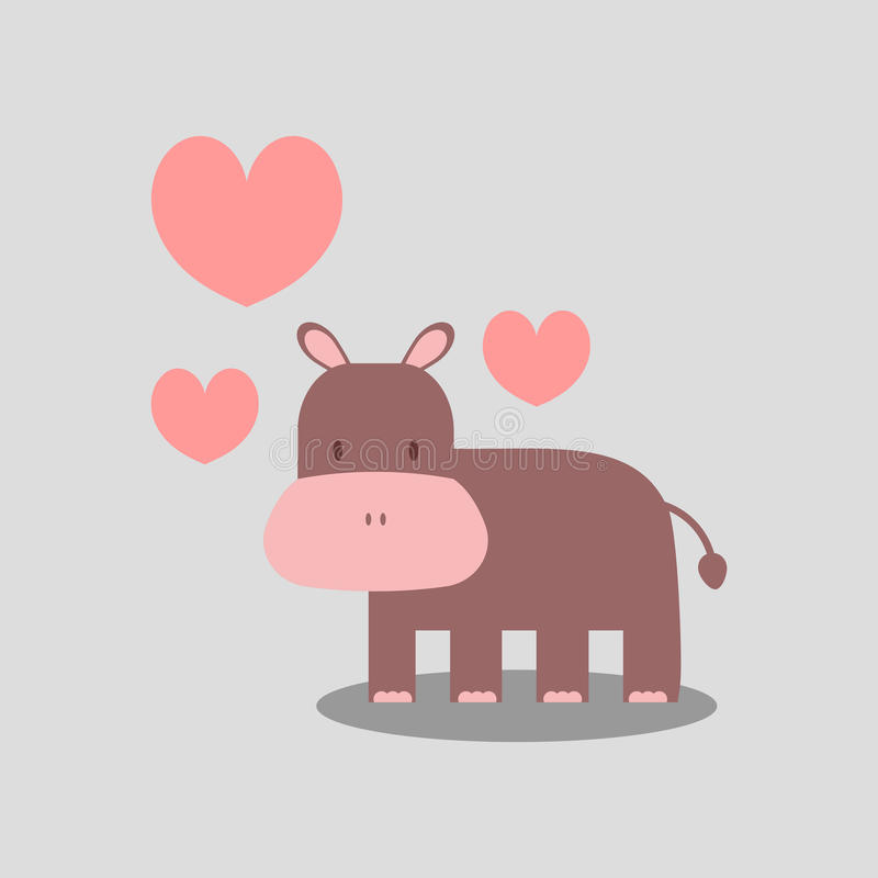 Hippopotamus bonito no amor ilustração do vetor