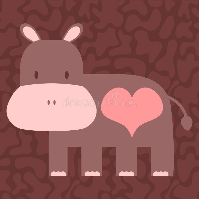 Hippopotamus bonito no amor ilustração royalty free