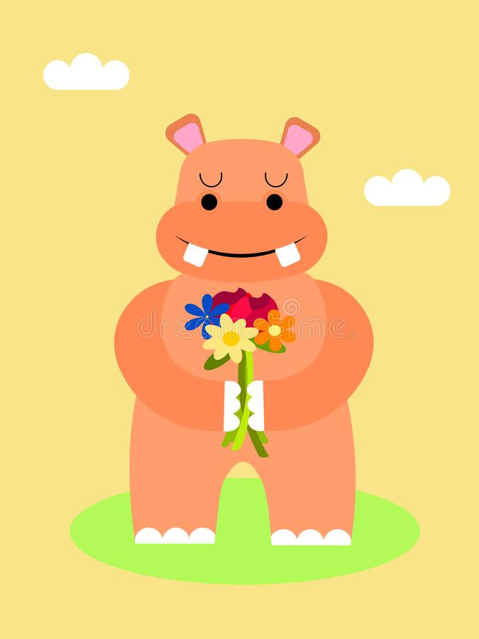 Hippopotamus with a bouquet. Vector royalty free illustration