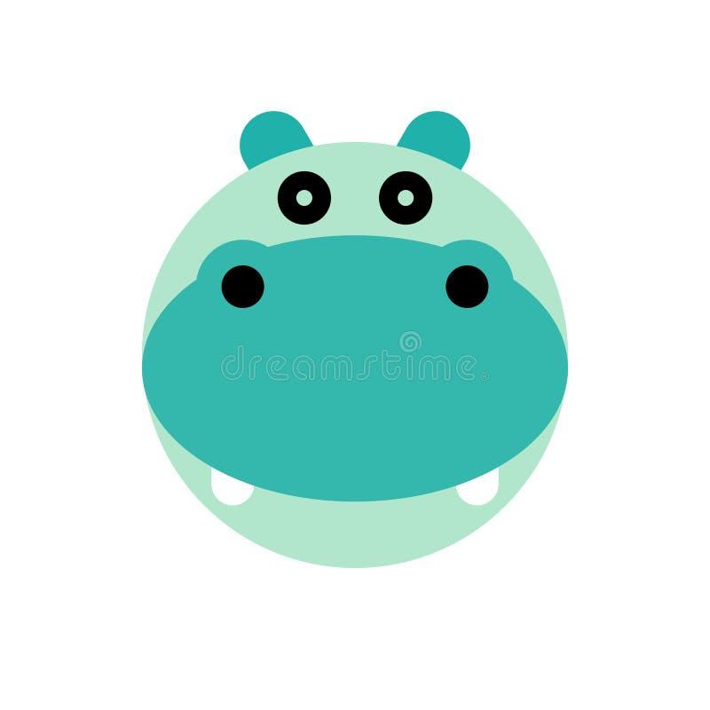 Hippopotamus Cabeça do animal dos desenhos animados ilustração royalty free