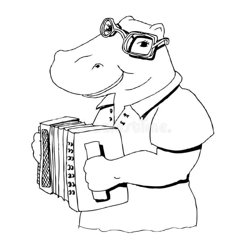 Hippopotamus chantant à l'accordéon illustration stock