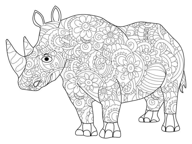 Download Hippopotamus Coloring Book Vector For Adults Stock