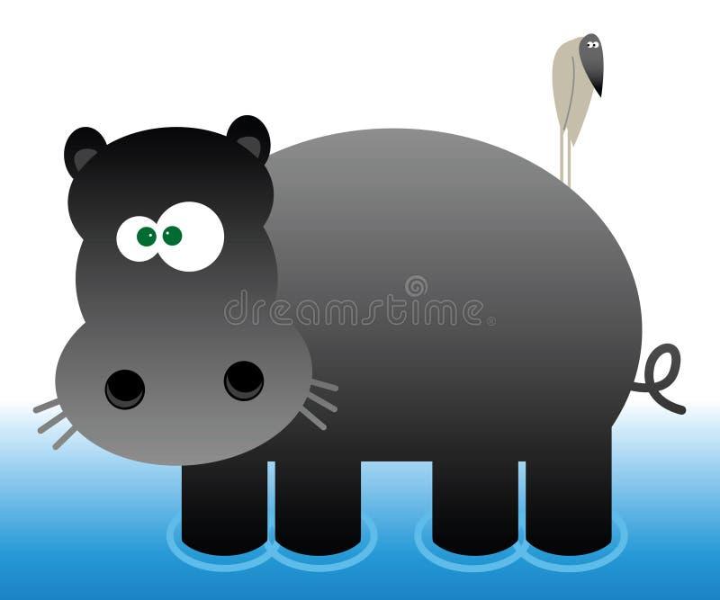 Hippopotamus de dessin animé illustration stock