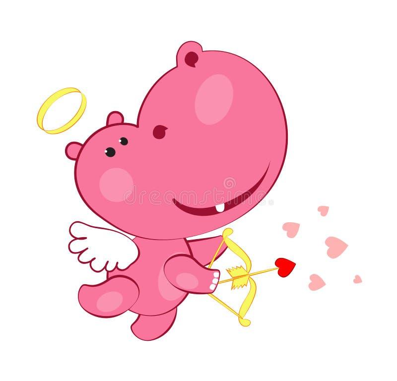 Hippopotamus doux de cupidon illustration de vecteur