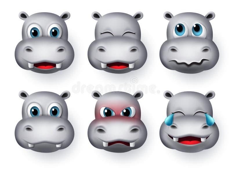 Hippopotamus emoji vector set. Hippopotamus or hippo face emojis and emoticons animal character. royalty free stock photo