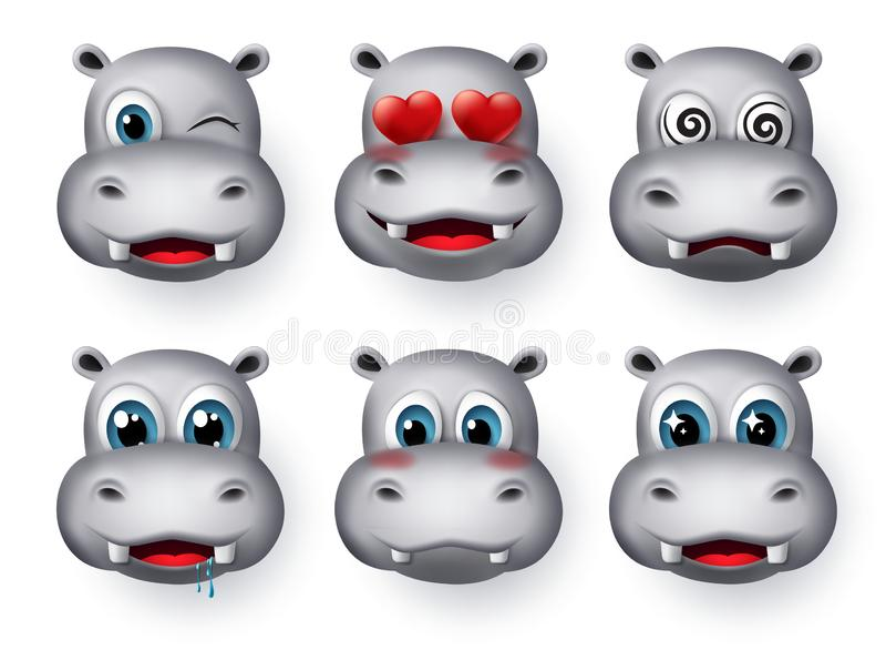 Hippopotamus emojis and emoticon vector set. Hippo emoticons animal avatar face. stock images