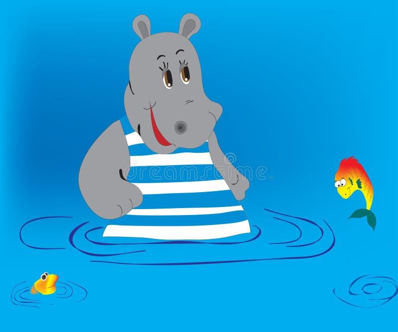 Hippopotamus et poissons illustration libre de droits