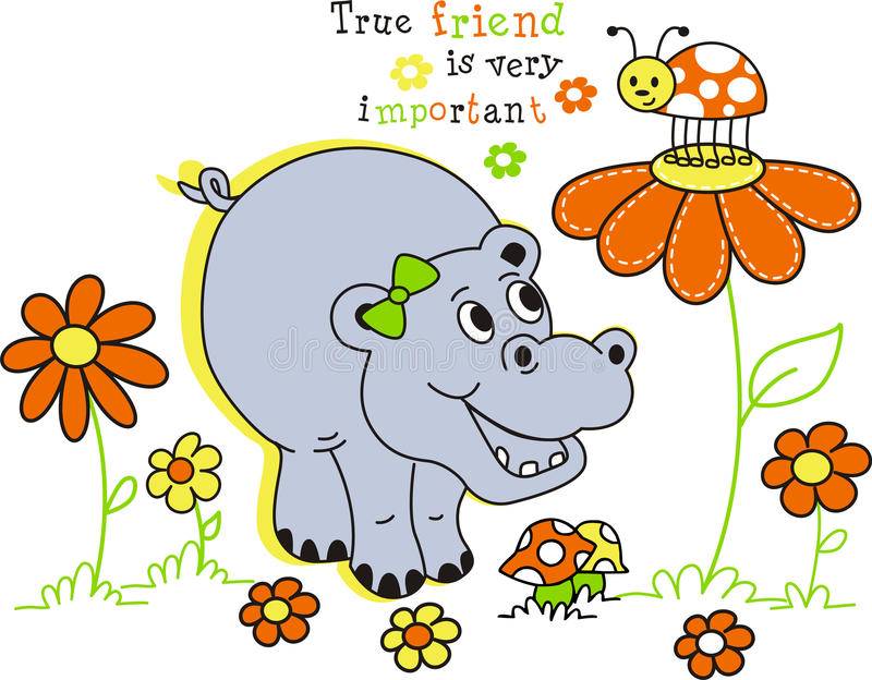 Hippopotamus feliz ilustração do vetor