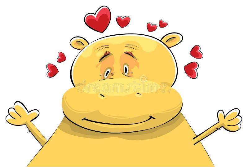Hippopotamus feliz no amor ilustração stock