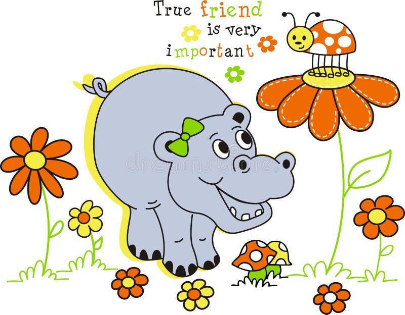 Hippopotamus heureux illustration de vecteur