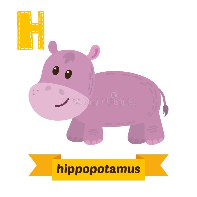 Hippopotamus Letra de H Alfabeto animal das crianças bonitos no vetor ilustração stock