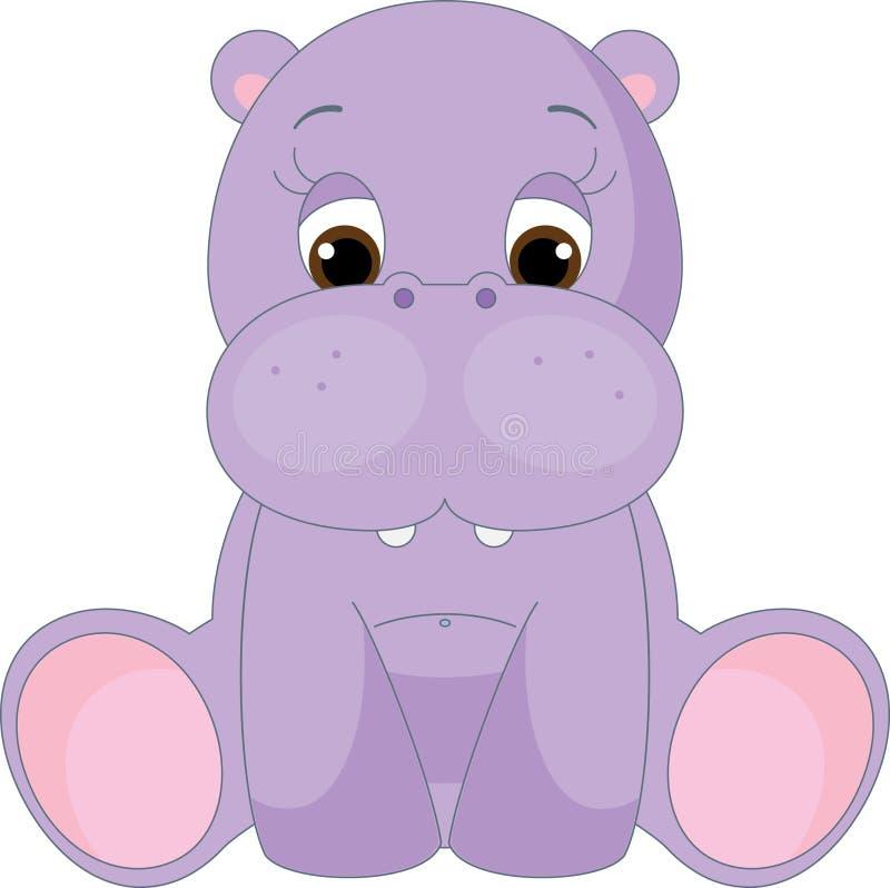 Hippopotamus lindo del bebé stock de ilustración
