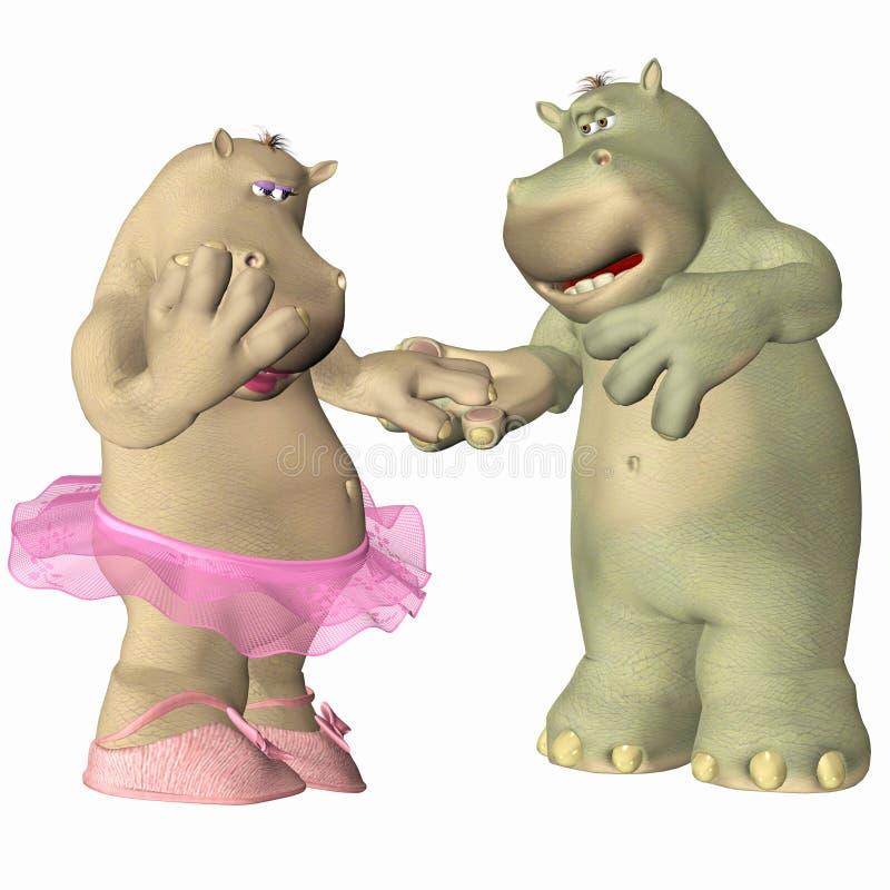 Hippopotamus no amor ilustração do vetor