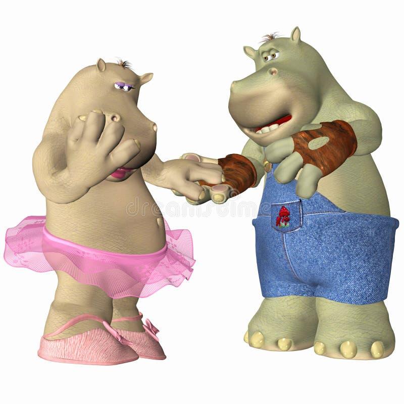 Hippopotamus no amor ilustração royalty free