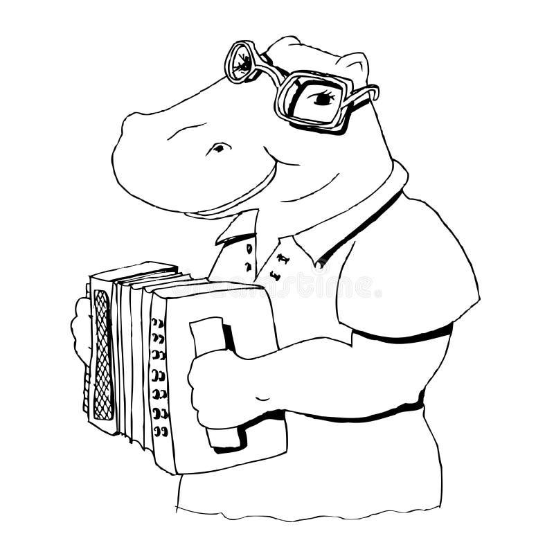 Hippopotamus que canta no acordeão ilustração stock