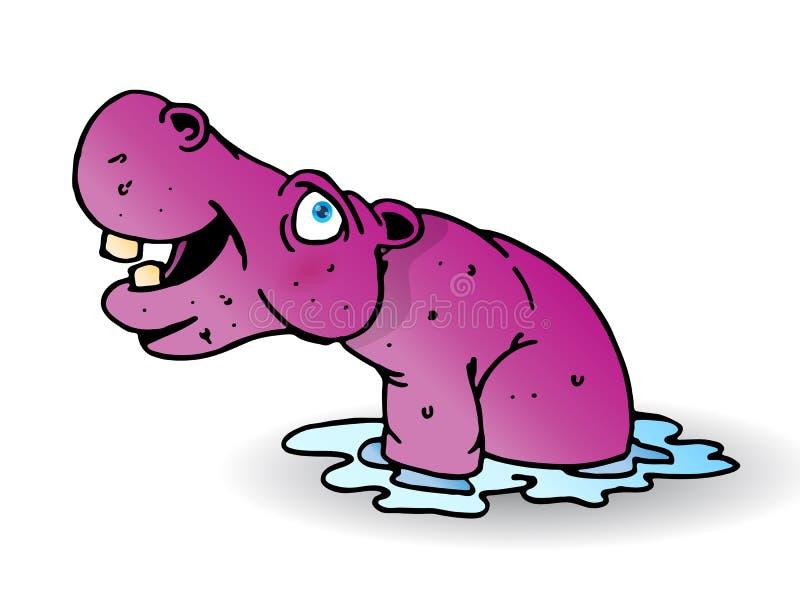 Hippopotamus roxo na água ilustração royalty free